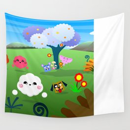 Happy Colorful Planet 01 Wall Tapestry