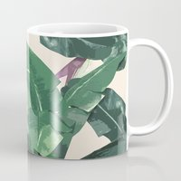 banana leaf Mugs featuring Banana Leaf Pattern by Tamsin Lucie