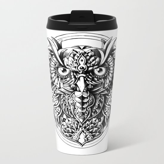 Owl Portrait Metal Travel Mug