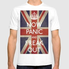 NOW PANIC AND FREAK OUT MEDIUM Mens Fitted Tee White