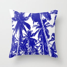 Palm Trees Design in Blue and White Throw Pillow