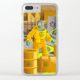 biohazard suit man with barrels near nuclear meltdown in powerplant Clear iPhone Case