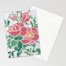 Flower cross stitch all over Stationery Cards