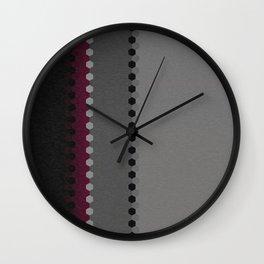 Modern Burgundy Grey Black Stripe Dot Pattern Wall Clock