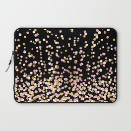 Floating Dots - White, Gold and Pink on Black Laptop Sleeve