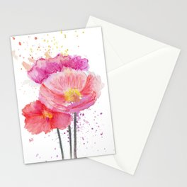 Colorful Watercolor Poppies Stationery Cards