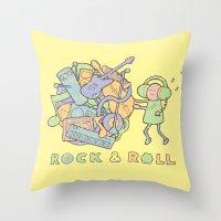katamari Throw Pillows featuring Katamari Rock & Roll by vonplatypus