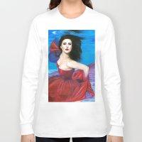 aqua Long Sleeve T-shirts featuring Aqua by Jane Stradwick