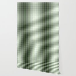 Dark Forest Green and White Gingham Check Wallpaper