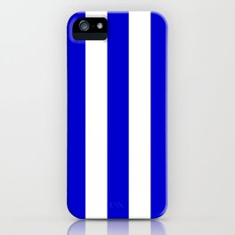 Medium blue - solid color - white vertical lines pattern iPhone Case