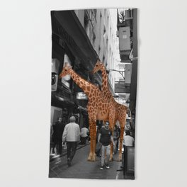 Safary in City. African Invasion. Beach Towel