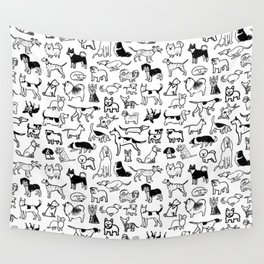 Black and White Dog Drawings   Cute Dog Breeds Pattern Wall Tapestry
