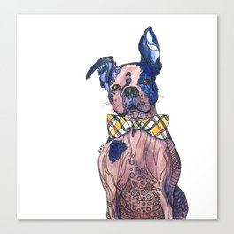 Bulldog in a bowtie, ink and watercolors Canvas Print