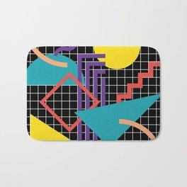 Memphis Pattern - 80s Retro Black Bath Mat