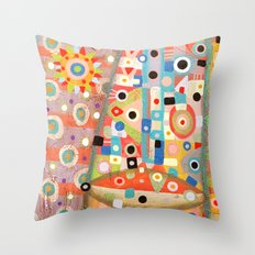 Girl with the flower in hair Throw Pillow