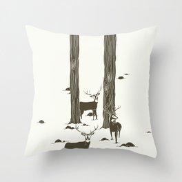 bucks in the snow Throw Pillow