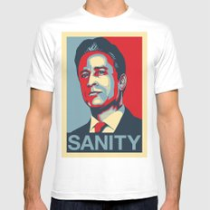 Jon Stewart - SANITY White Mens Fitted Tee MEDIUM