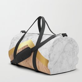 Arrows - White Marble, Gold & Wood #851 Duffle Bag