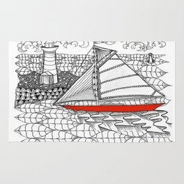 Sailors Dream Fair Winds Sailboat Zentangle Rug