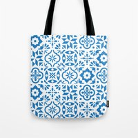 spanish Tote Bags featuring Spanish Tiles by Morris & Essex