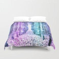 Magical Forest Lavender Aqua Teal Ombre Duvet Cover