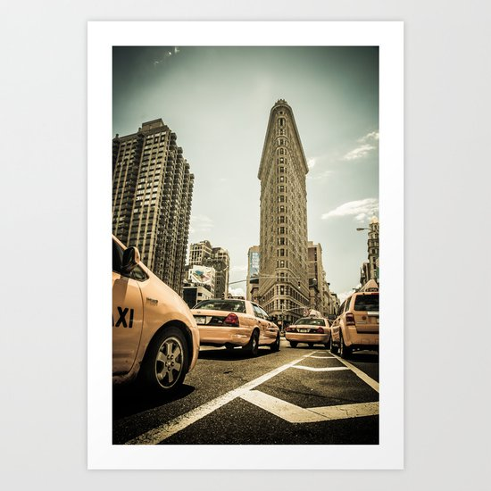 Yellow Cabs at the flat iron building Art Print