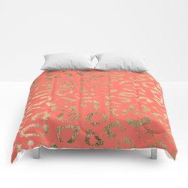 Modern coral faux gold cheetah animal print Comforters