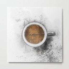 Coffee Heartbeat Metal Print