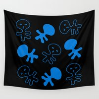 aliens Wall Tapestries featuring Aliens-Blue by ts55