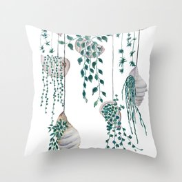 hanging plant in seashell Throw Pillow