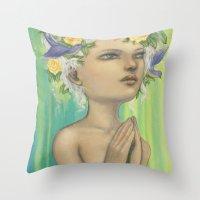 virgo Throw Pillows featuring Virgo by Artist Andrea
