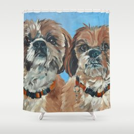 Shih Tzu Buddies Dog Portrait Shower Curtain