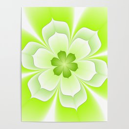 Flower Green And White, Floral Fractal Art Poster