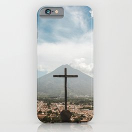Epic view of La Cruz 'the cross' of Antigua Guatemala overlooking the city and volcano iPhone Case