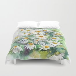 Watercolor chamomile white flowers Duvet Cover