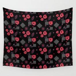 Watercolor . Red poppies .  Black . Wall Tapestry