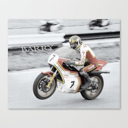 Barry Sheene 2, the hand tinted version Canvas Print