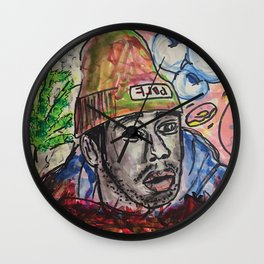 tyler,rapper,colourful,colorful,poster,wall art,fan art,music,hiphop,rap,legend,shirt,print Wall Clock