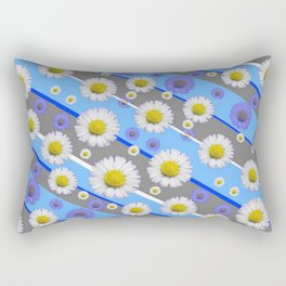 DECORATIVE DIAGONAL PATTERN BLUE MODERN ART WHITE SHASTA DAISIES Rectangular Pillow