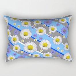 DECORATIVE DIAGONAL PATTERN BLUE MODERN ART WHITE SHASTA DAISIES Rectangular Pillow