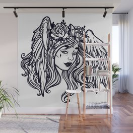 flying head.Gamayun.Sirin.Alconost. Wall Mural