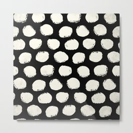 Trendy Cream Polka Dots on Black Metal Print