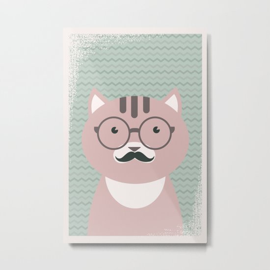 Clever Cat cute pet hippster moustache character Metal Print