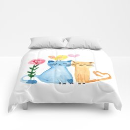 Water painting - cats, bird, heart and rose Comforters