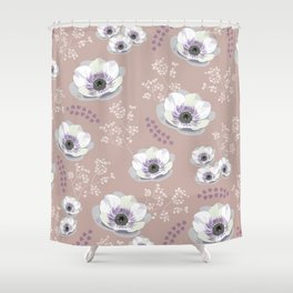 Anemones IV: pattern beige Shower Curtain