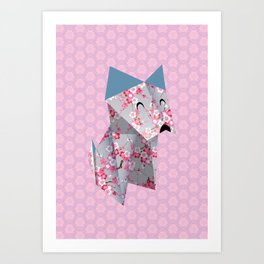 Origami Puppies With Purple Background Art Print