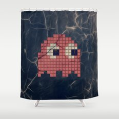 Pac-Man Pink Ghost Shower Curtain