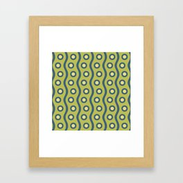 Mid Century Modern Rising Bubbles Pattern Blue and Chartreuse Framed Art Print