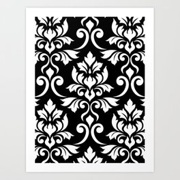 Feuille Damask Pattern White on Black Art Print