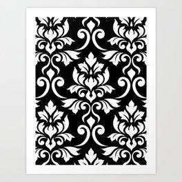 Feuille Damask Pattern White on Black Art Print